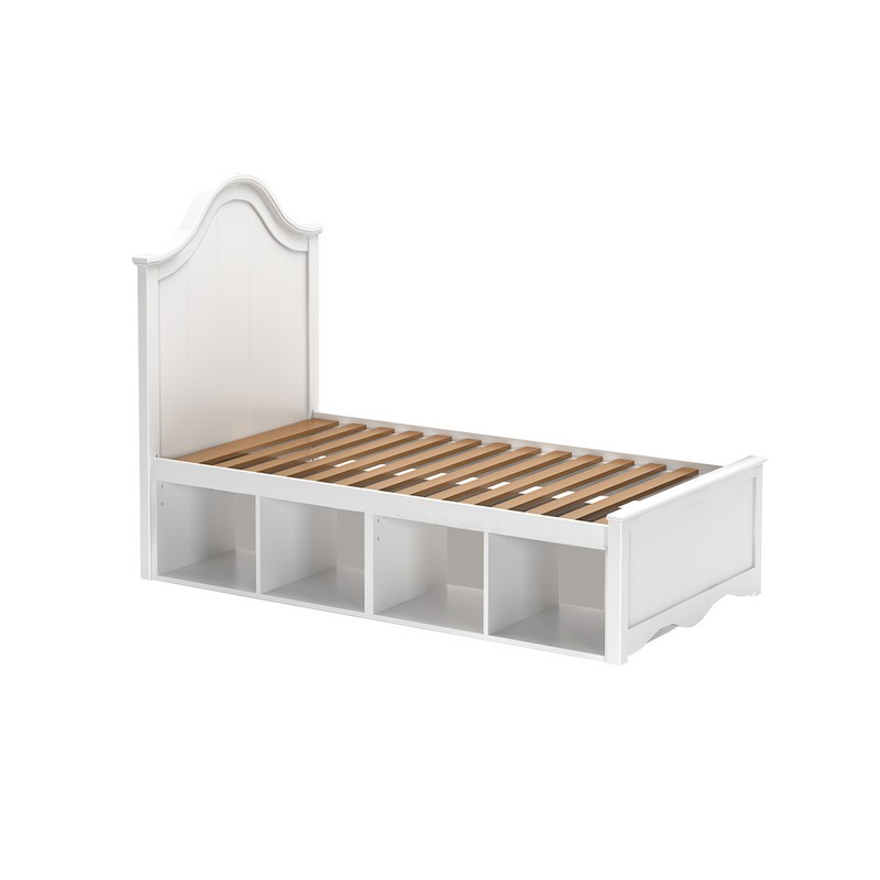 Charleston white twin storage bed under bed storage for Twin bed with storage