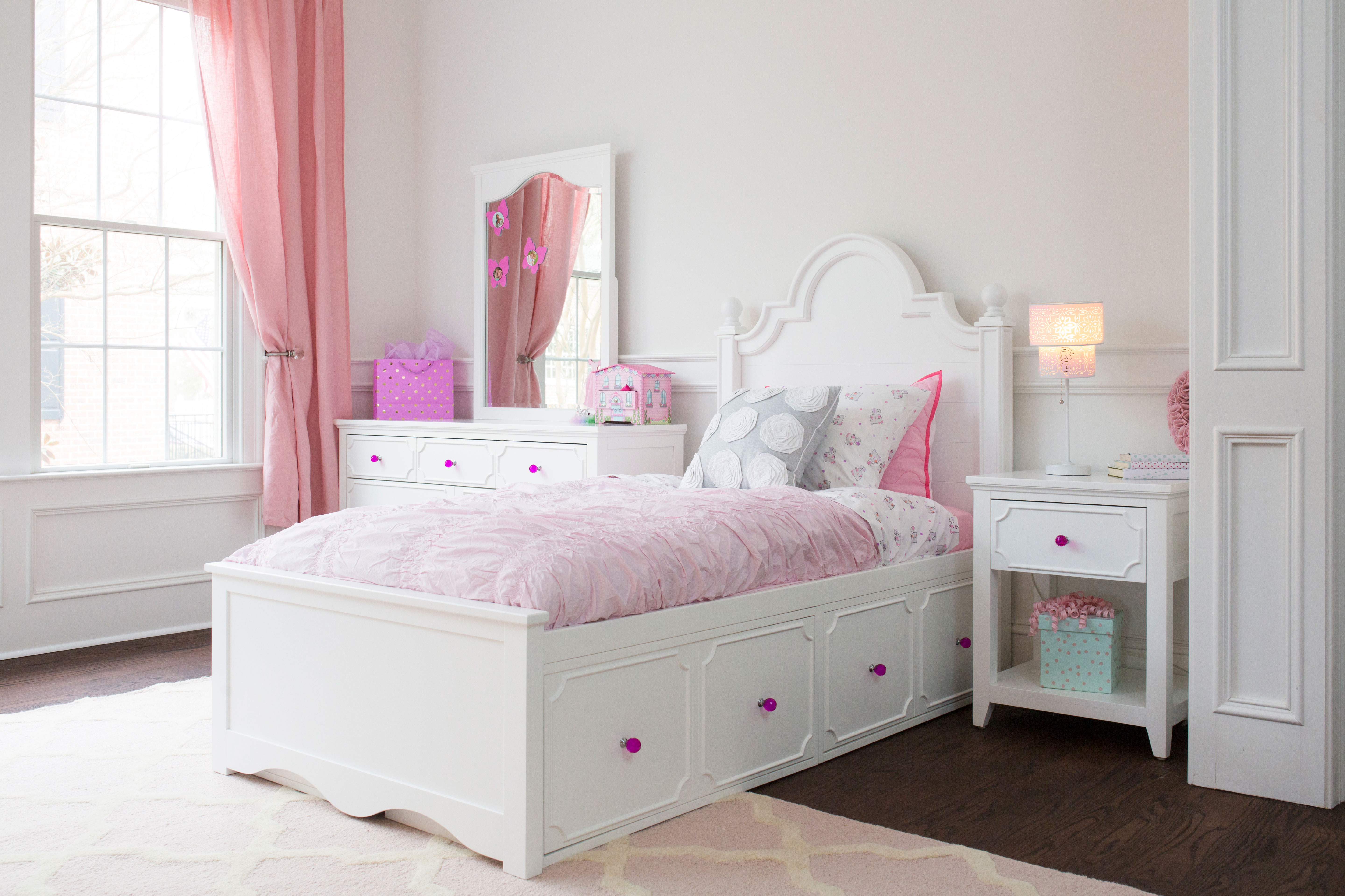 Adealide Girls White Captains Bed Captain S Drawers