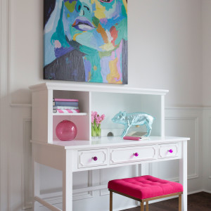 CRAFT-DESK-HUTCH-WHITE-FUCHSIA-CRYSTAL-KNOBS-PINK-STOOL