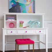 CRAFT-DESK-HUTCH-WHITE-FUCHSIA-CRYSTAL-KNOBS-PINK-STOOL-PIG