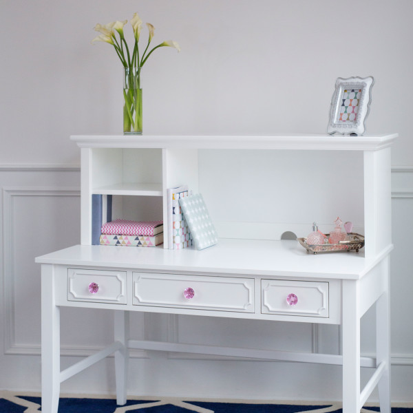 Craft Desk Hutch White Pink Crystal S
