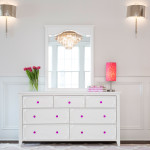 CRAFT-3OVER4-DRAWER-DRESSER-WHITE-MIRROR-FUCHSIA-CRYSTAL-KNOBS-FLOWERS
