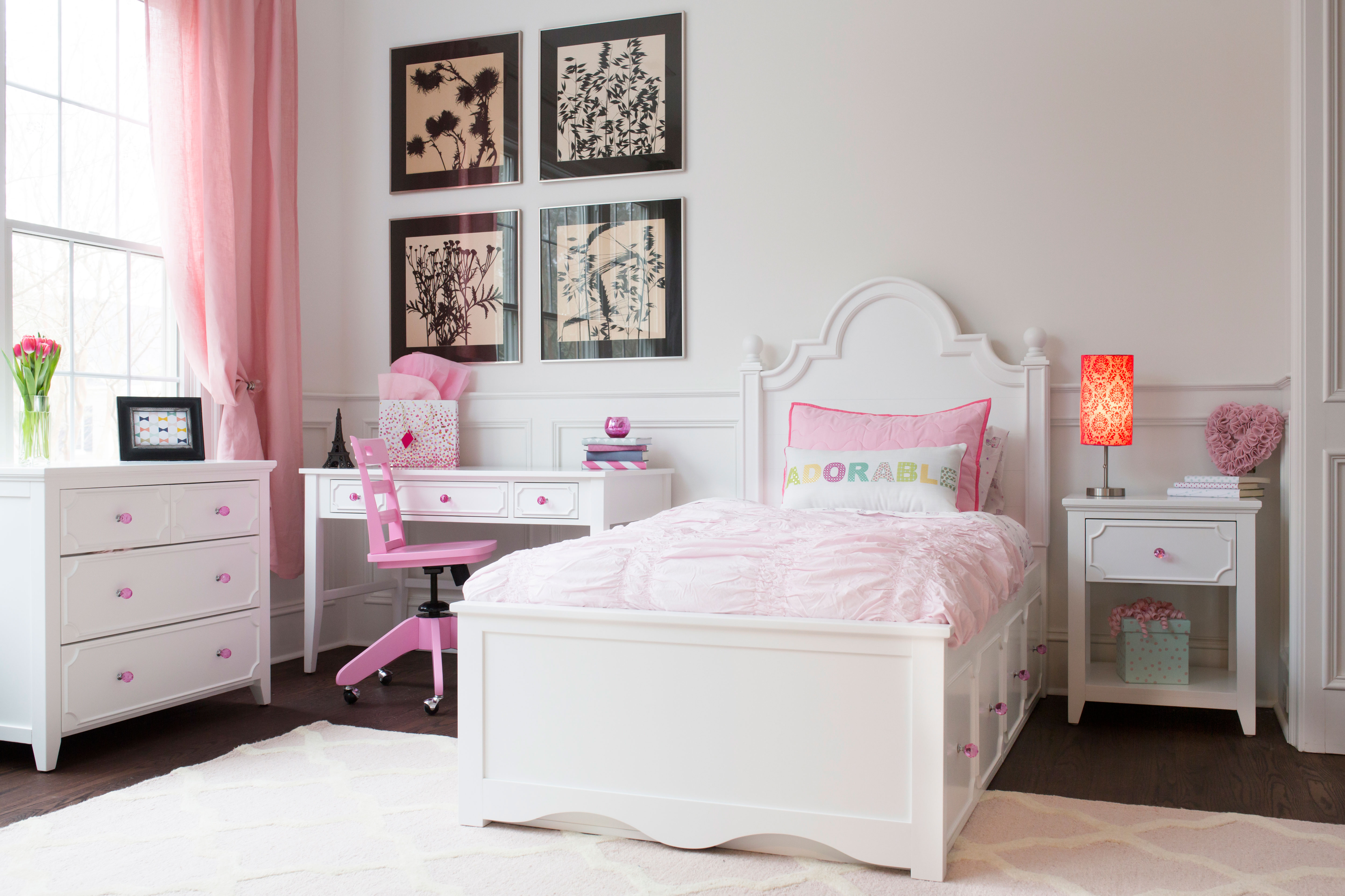 Adelaide curved & cute girls storage bed - white finish | Craft