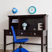 CRAFT-DESK-HUTCH-ESPRESSO-CLEAR-CRYSTAL-KNOBS-BLUE-MAXTRIX-CHAIR-CLOCK
