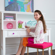 CRAFT-DESK-HUTCH-WHITE-FUCHSIA-CRYSTAL-KNOBS-PINK-STOOL-GIRL-WRITING